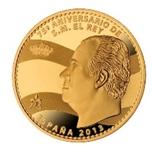 Foto de 2013 75 Aniversario de S.M. REY 5 EUROS Plata recubuerta de Oro