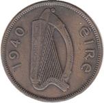 Foto de 1940 IRLANDA 1/2 PENNY COBRE