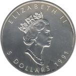 Foto de 1991 CANADA 5$ HOJA ARCE 1 OZ