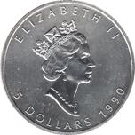 Foto de 1990 CANADA 5$ HOJA ARCE 1 OZ
