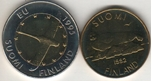 Foto de 1992 y 1995 FINLANDIA 5 y 10 MARKKAA