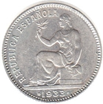 Foto de 1933-34 II REPUBLICA 1 PESETA. Ord.Cat.76