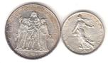 Foto de FRANCIA lote 2 piezas: 10 Francos 1965 y 5 Francos 1960