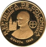 Foto de 1968 COLOMBIA 100 PESOS CONGRESO EUCARISTICO